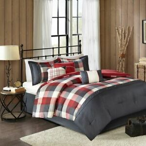 7pc Rustic Red & Ivory Buffalo Plaid Comforter Set AND Decorative Pillows