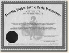 "Certificate of Authenticity for ""TIMHU"" Newspaper/Item"