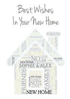 NEW HOME Personalised Beautiful WordArt Card A5 Size (FREEPOST)
