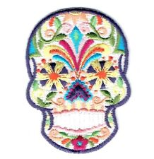 White Sugar Skull/Blue Eyes/Day of the Dead - Iron On Applique/Embroidered Patch