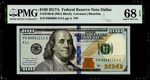"$100 2017A Federal Reserve Note Dallas ""Fancy Double Squad Serial #"" PMG 68 EPQ"