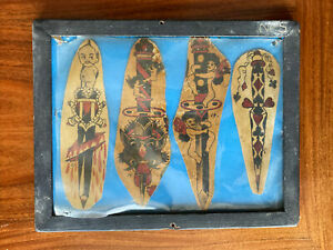 ORIGINAL 1920s FRAMED VINTAGE HAND PAINTED TATTOO FLASH SHEET, DAGGERS