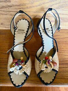 Moschino Women's Straw Peep Toe Pump Italy Shoes Sz 38.5