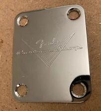 Fender Custom Shop Logo Chrome Neck Plate & Screws, U.K seller