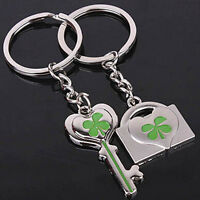 Lucky Clover Keychain Couple Metal Keyring Green Shamrock KEYRING Option