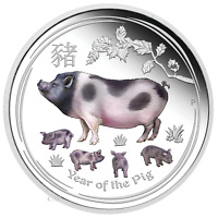 2019 Australia PROOF Colorized Lunar Year of the PIG 1oz SIlver $1 Coin w/ COA