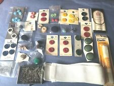 Lot Vintage Sewing Supplies Bias Tape, Straight Pins, Elastic, Special Buttons