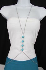 New Women Silver Body Chain Long Necklace 4 Big Turquoise Balls Fashion Jewelry