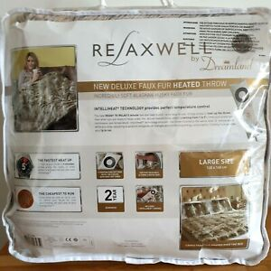 Relaxewell Luxurious Alaskan Husky Faux Fur Cosy Electric Heated Throw