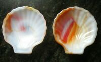 2 Vintage Akro Agate Orange and Red Slag Glass Shell Dish -Free Shipping
