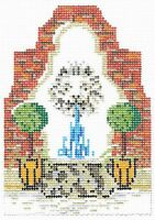 Needlepoint Handpainted KELLY CLARK Christmas Village Fountain w/ Stitch Guide