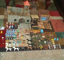 VINTAGE PLAYMOBIL Lot CASTLE Western Coach Figures Fence Horses Dogs Guns & More