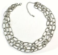 """Hammered Oval Link 3 Strand Silver Tone Choker Chain Necklace 17"""""""