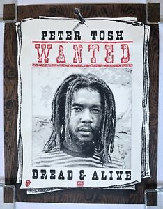 PETER TOSH Wanted Dread & Alive 1981 US PROMO Only POSTER Tolling Stones REGGAE