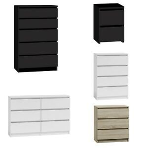 Chest of Drawers White Black Oak Bedroom Furniture Tall Wide Storage 3 4 5 6Draw