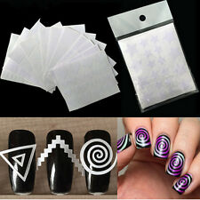 12x Nail Art Guide Hollow Stencils Sticker French Manicure Template Vinyls Tips