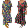 Womens Short Sleeve Long Maxi Dresses Summer Loose V Neck Floral Dress Plus Size