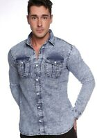 Stylish Mens Slim Fit Casual Jeans DENIM SHIRTS Shirt Tops Long Sleeve ACID WASH