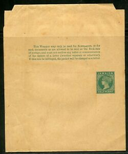 JAMAICA HALF PENNY STATIONERY WRAPPER QUEEN VICTORIA UNUSED AS SHOWN