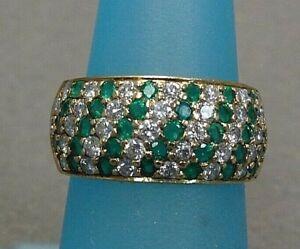 Emerald and Diamond Band 18k Yellow Gold size 6.5