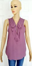 Purple Top Woman Sleeveless Blouse Size M Tempted Los Angeles Shirt Overlapping