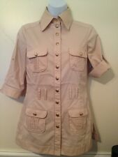 Bebe Champagne Blouse Gold Hardware Convertible Sleeve Cotton Spandex XS