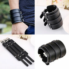 Men's Adjustable Punk Wide Genuine Leather Belt Wristband Bangle Cuff Bracelet