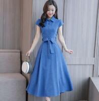 Short-sleeved cotton and linen dress Women's Vogue Slim-waist Dress Bow tie