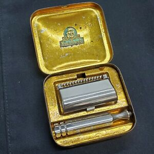 Vintage Ever-Ready Travel Safety Razor in Gold Tone Tin Case MADE IN USA
