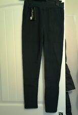 WINTER WARM GREY SMALL CHECKED STRAIGHT LEGGINGS TROUSERS