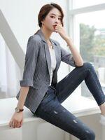 Women's One Button Spring Suit Jacket Lapel Coat Outdoor Overwear Casual Blazer