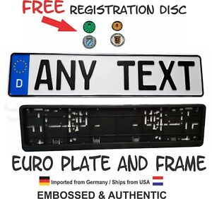 EUROPEAN LICENSE PLATE SET,  ANY TEXT, BMW,  EURO TAG, custom  GERMAN, Audi,