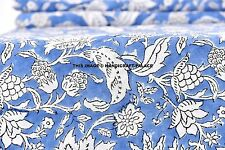 2.5 Yard Printed Fabric Hand Block Print 100% Cotton Fabric Indian Indigo Blue