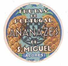 Frutas de Portugal Ananazes de S.Miguel -  Vintage Luggage Label Pineapples