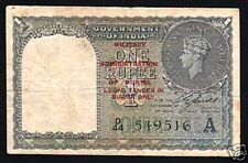 BURMA OVPT. ON INDIA 1 RUPEE P25 1945 COIN KING GEORGE VI WITHOUT PIN HOLE NOTE