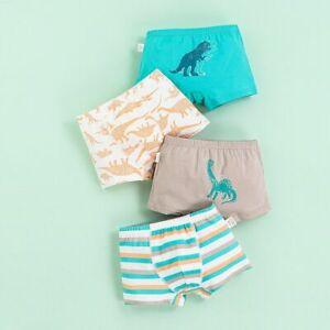 4-Pack Boys Underwear kid Boxer Briefs Soft Cotton Dinosaur Toddler Shorts 2-10T