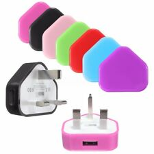 Mains Wall 3 Pin UK Plug USB Charger Adapter For Samsung IPhone Phone & Tablets