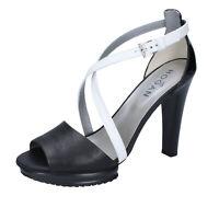 Damen schuhe HOGAN 40 EU sandalen weiß leder schwarz lack BK666-40