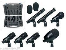 GATT Drum Mics Microphone Kit Set Cables Rim Mounts Case Mic Bar Kick Snare Toms