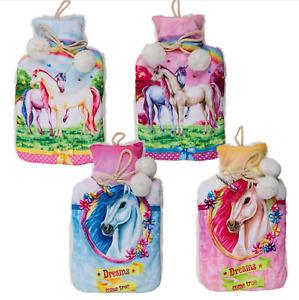 Unicorn Pom Pom Detail Wärmflasche Blau/Pink 4 Designs 32cm x 20cm
