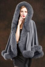 uxury/Real Cashmere Best Fox Fur Cloak poncho with Cap Coat/Wraps/A style gray