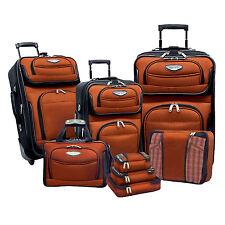Travel Select Orange Amsterdam 8pc Rolling Luggage Suitcase Bag Packing Cube Set