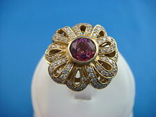 !STUNNING FLOWER DESIGN TOURMALINE & DIAMONDS 14K YELLOW GOLD COCKTAIL RING,SZ 7