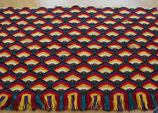 antique vintage hand-embroidered tapestry colorful with fringes