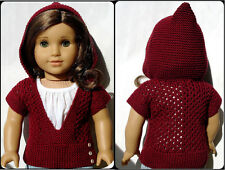 Knitting Pattern - Mae Hooded Pullover Sweater For American Girl Dolls 18 Inch