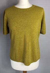 M&S Size 14 Mustard Yellow Lightweight Jumper Shirt Sleeve Autumn Ladies