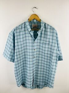 Como Men's Vintage Short Sleeve Button Up Collared Shirt Size M White Check