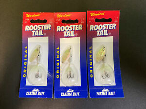 Lot of 3 Worden's Rooster Tail 1/16 oz Spinner Bait Fishing Lures 206FWH