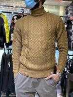 Maglione Collo Alto Uomo Maglioncino Beige Treccie Vintage Slim Fit Casual