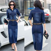 2018 Women Fashion Casual Washed Jean Skirt Long Sleeve Denim Dress+Belt